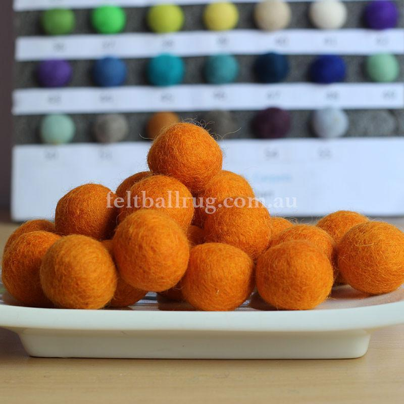 Felt Ball Orange 1CM,  2CM, 2.5CM, 3CM, 4CM Colour 6 - Felt Ball Rug USA - 1