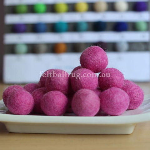 Felt Ball Candy Floss Pink 1CM,  2CM, 2.5CM, 3CM, 4CM Colour 8 - Felt Ball Rug Australia - 1