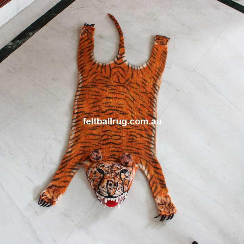 Animal Felt Rug Tarzan The Tiger - Felt Ball Rug Australia - 1