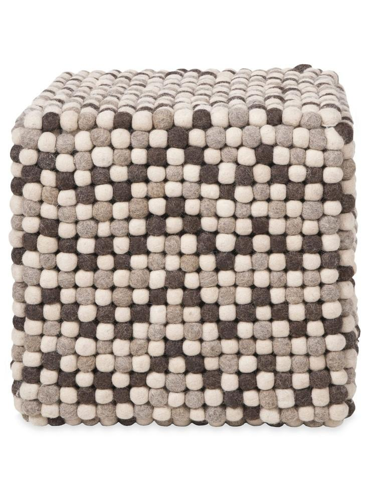 Natural Grey Felt Ball Ottoman Pouf - Felt Ball Rug USA - 1