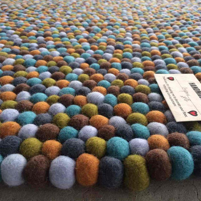 Autumn Forest Felt Ball Rug
