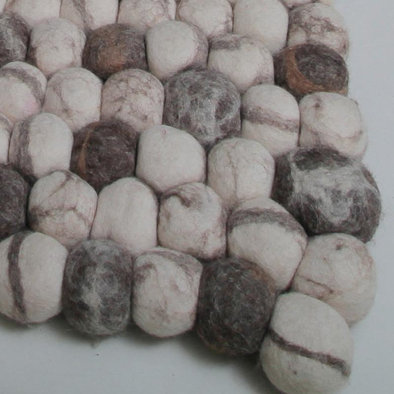 Brown Pebble Felt Ball Rug