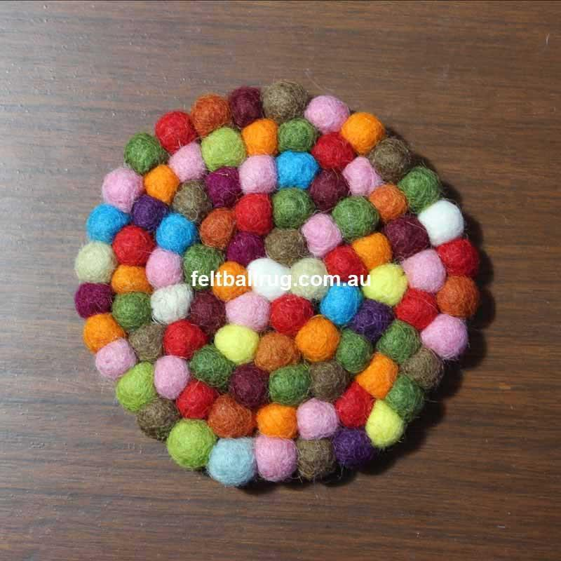 Multi Colored Felt Ball Coaster - Felt Ball Rug USA - 2