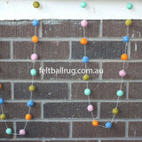 Pom Pom Garland Blue Mint Lime Orange Pink - Felt Ball Rug Australia - 2