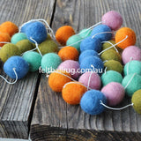 Pom Pom Garland Blue Mint Lime Orange Pink - Felt Ball Rug Australia - 4