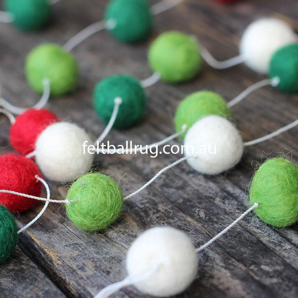 Felt Ball Christmas Garland - Felt Ball Rug USA - 1