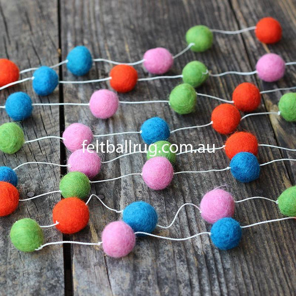 Felt Ball Garland Pink Red Green And Blue - Felt Ball Rug USA - 1