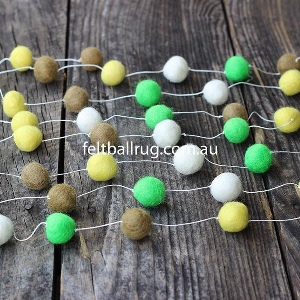 Felt Ball Garland Lime Green Olive Yellow White - Felt Ball Rug USA - 1