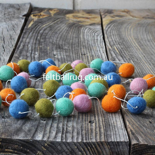 Pom Pom Garland Blue Mint Lime Orange Pink - Felt Ball Rug Australia - 1