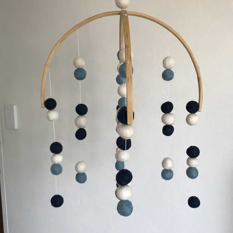 Felt Ball Mobile Navy Blue And White