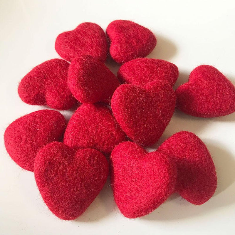 Felt Hearts Bright Red