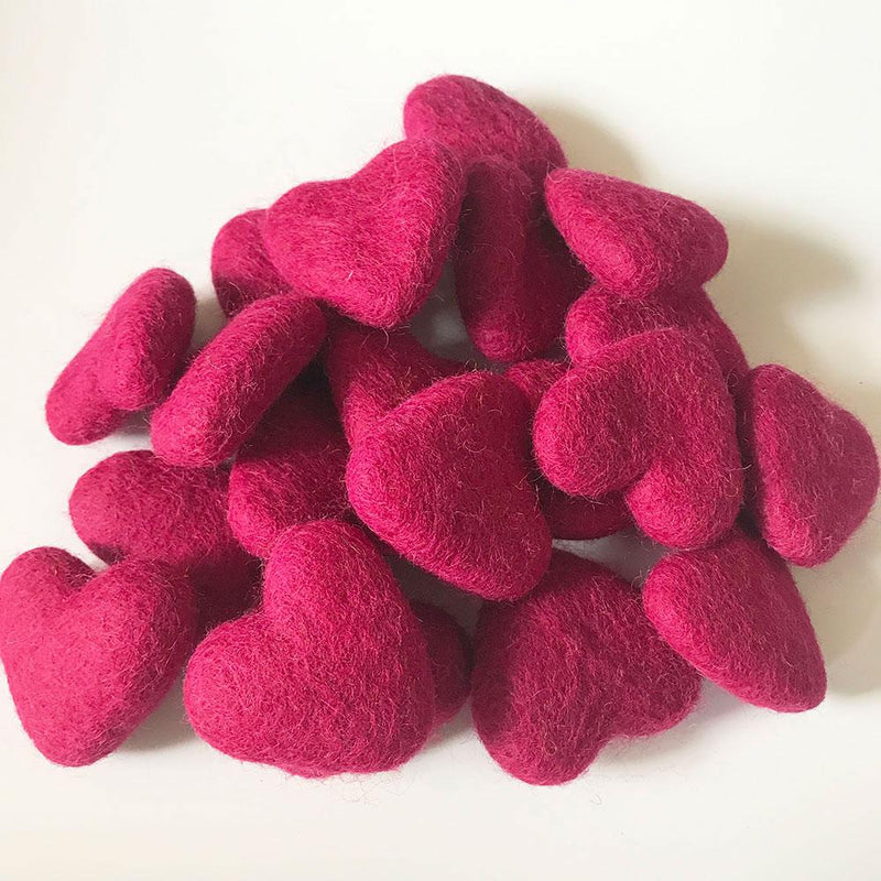 Felt Hearts Rose Red
