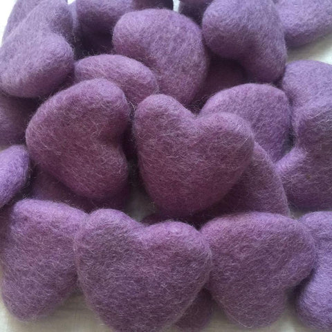 felt hearts purple