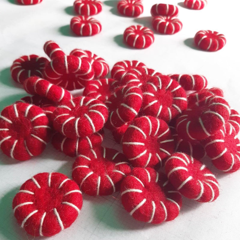 felt peppermint candy red