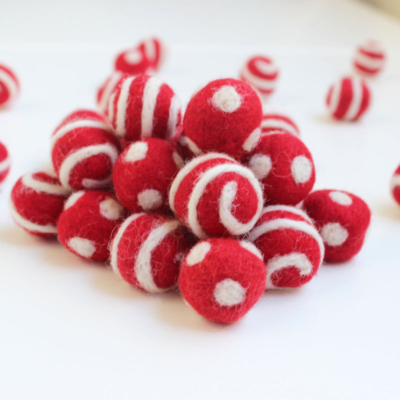 white on red polka dot swirl felt balls