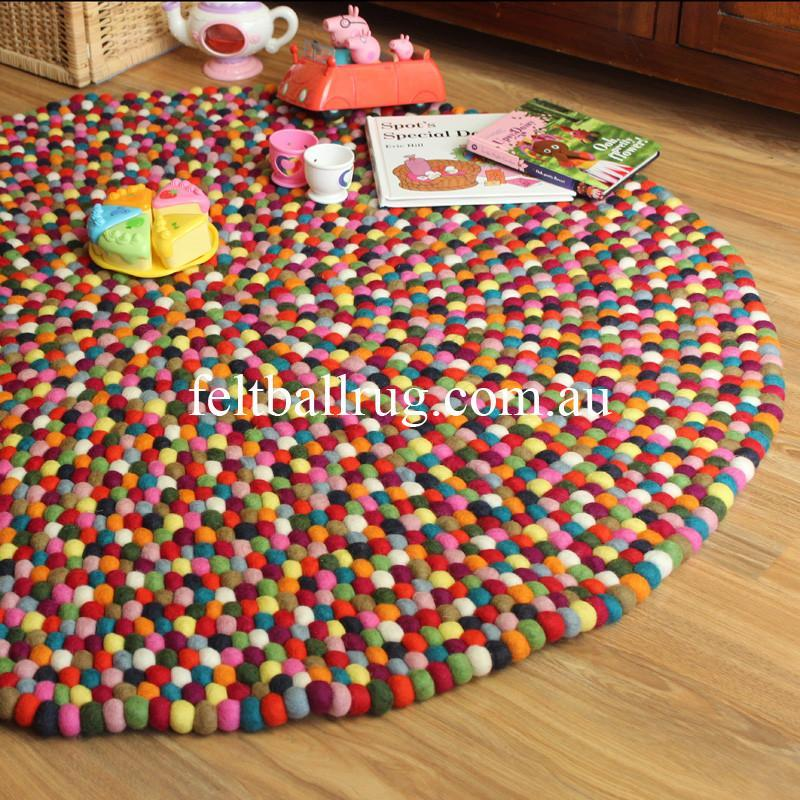 Multi Coloured Felt Ball Rug - Felt Ball Rug USA - 1