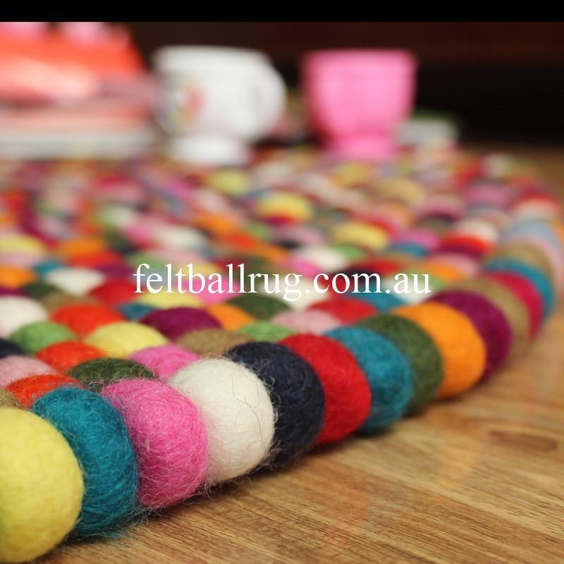 Multi Coloured Felt Ball Rug - Felt Ball Rug USA - 4