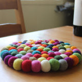 Multi Colored Felt Ball Trivet - Felt Ball Rug Australia - 3