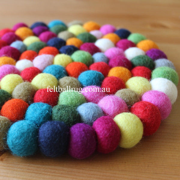 Multi Colored Felt Ball Trivet - Felt Ball Rug USA - 1