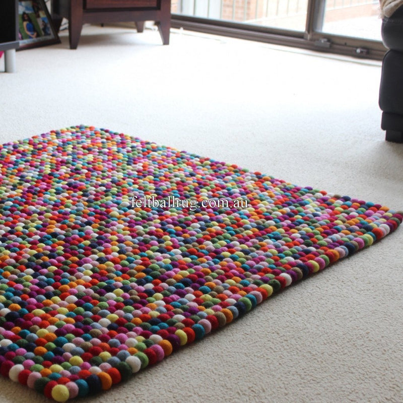 Multicolored Rectangle Felt Ball Rug - Felt Ball Rug USA - 1