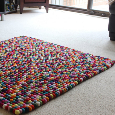 Multicolored Rectangle Felt Ball Rug - Felt Ball Rug Australia - 1