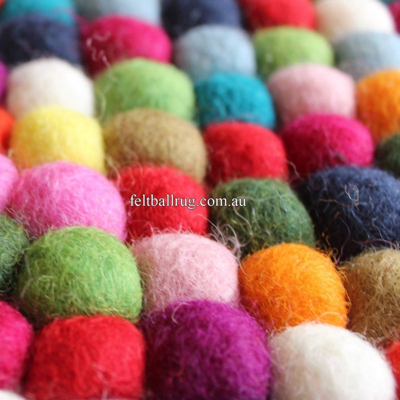 Multicolored Rectangle Felt Ball Rug - Felt Ball Rug USA - 2
