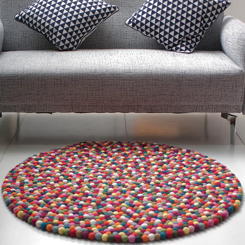 Multicolored Felt Ball Rug