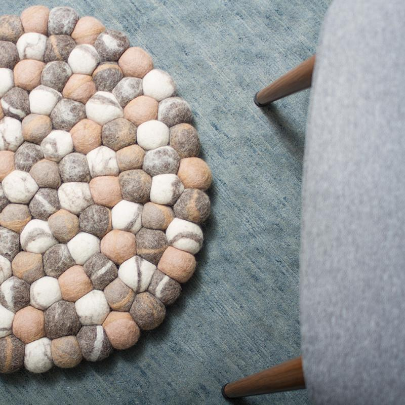 Chocolate Pebble Felt Ball Rug