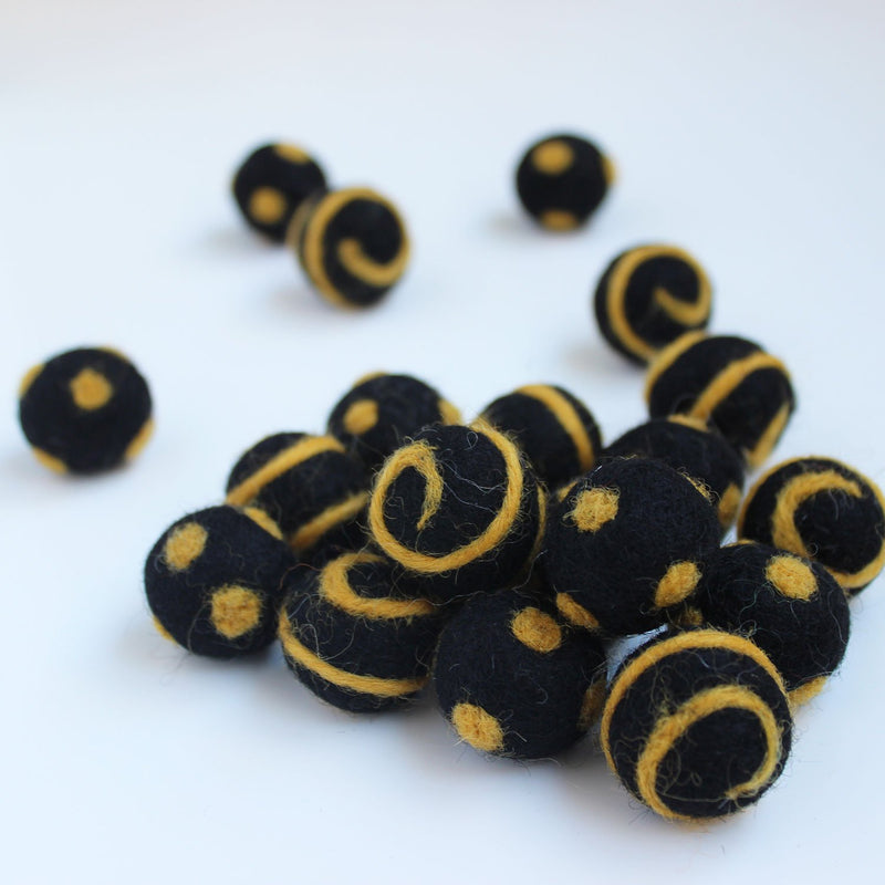 Polka Dot Swirl Felt Balls Gold On Black
