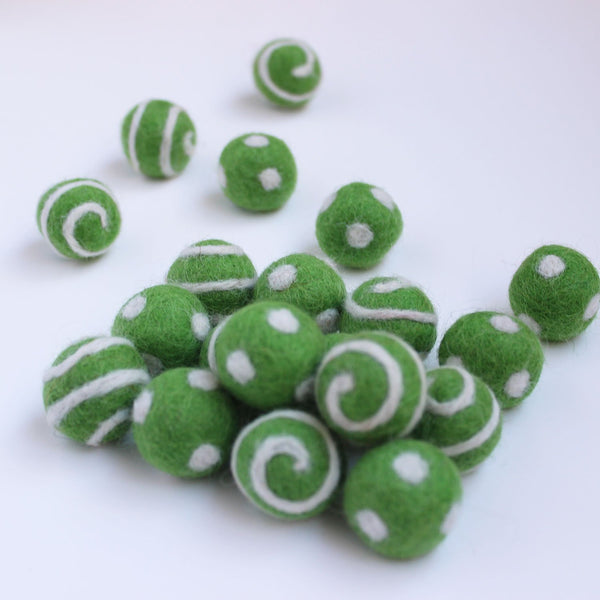 Polka Dot Swirl Felt Balls White On Spring Green