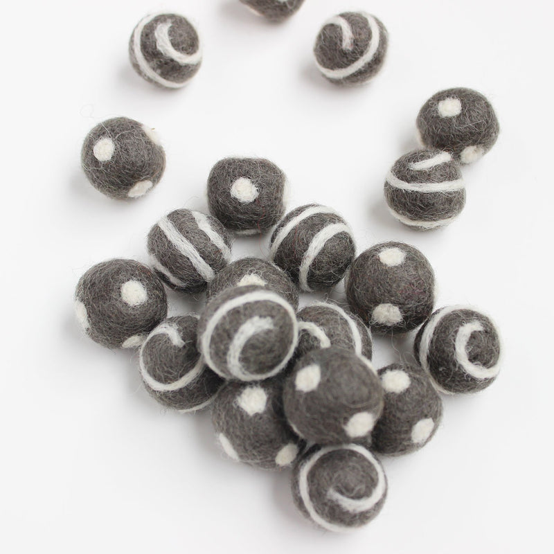 Polka Dot Swirl Felt Balls White On Grey