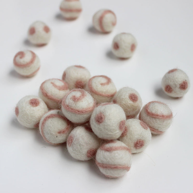 Polka Dot Swirl Felt Balls Fairy Floss On White