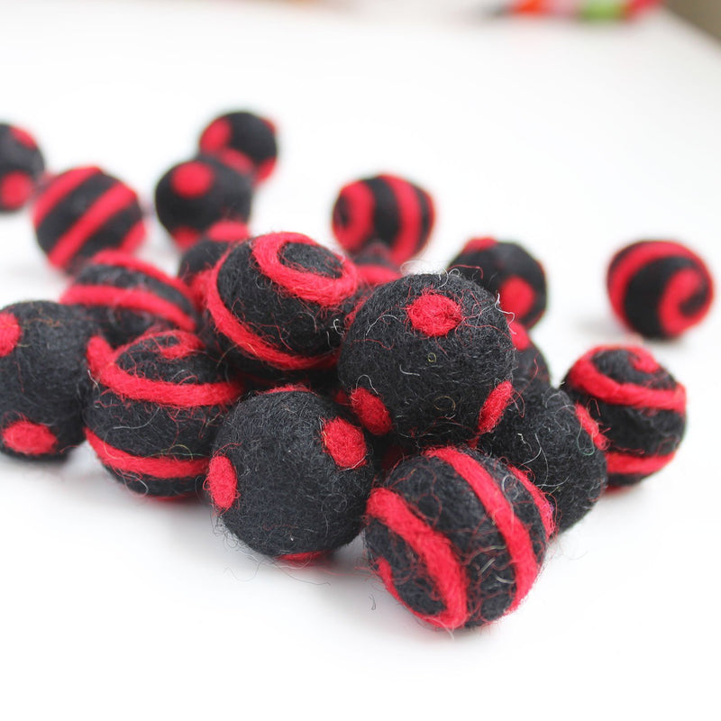 Polka Dot Swirl Felt Balls Red On Black
