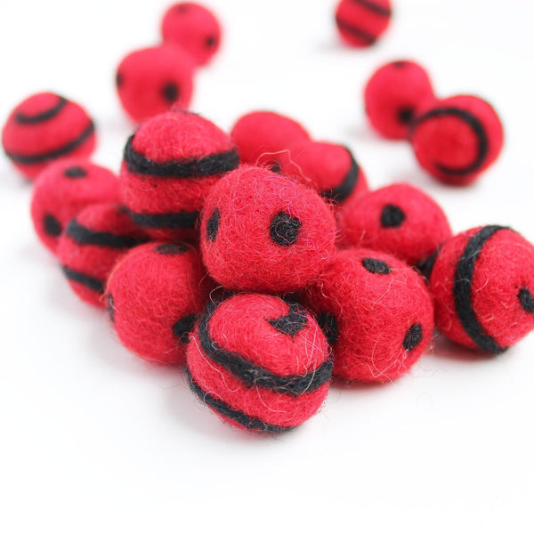 Polka Dot Swirl Felt Balls Black On Red