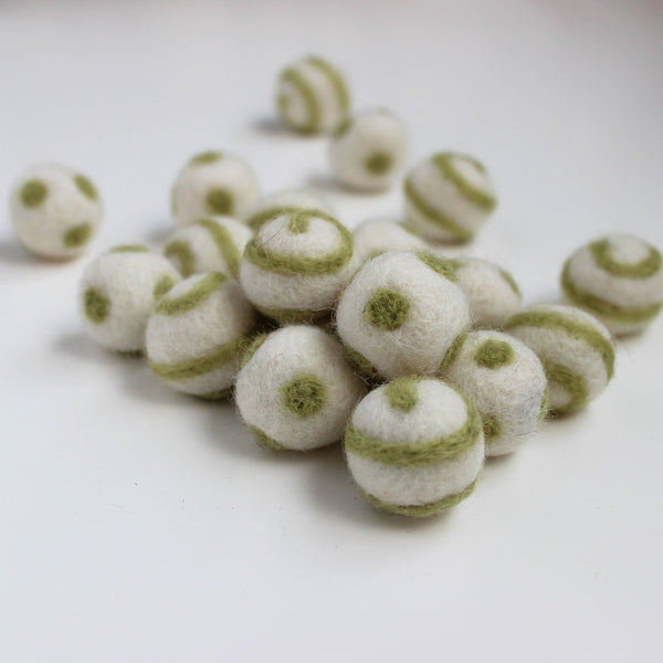 Polka Dot Swirl Felt Balls Olive Green On White