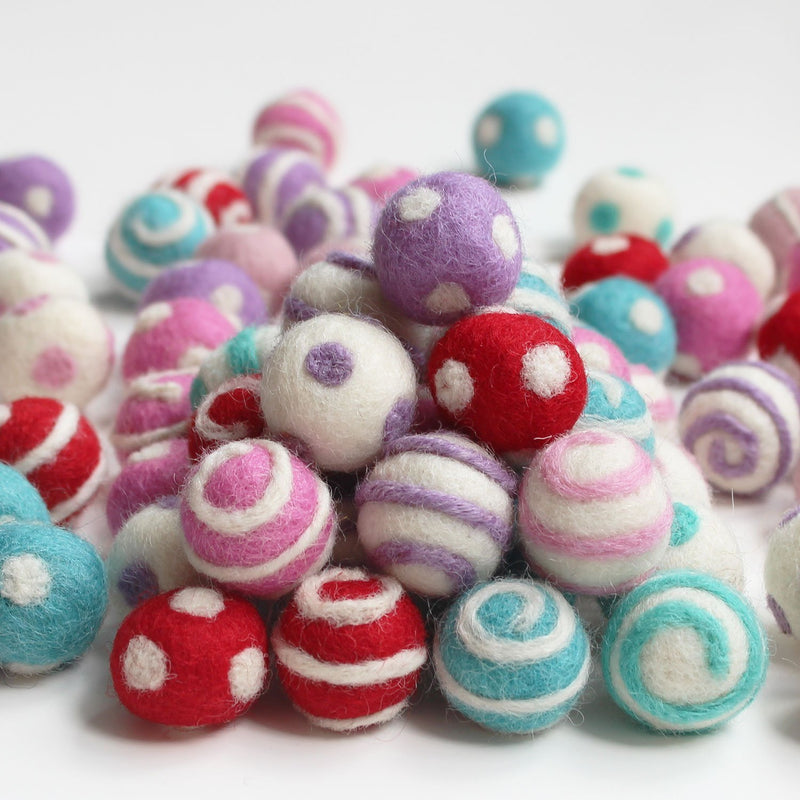 Polka Dot Swirl Felt Balls Assorted Colors