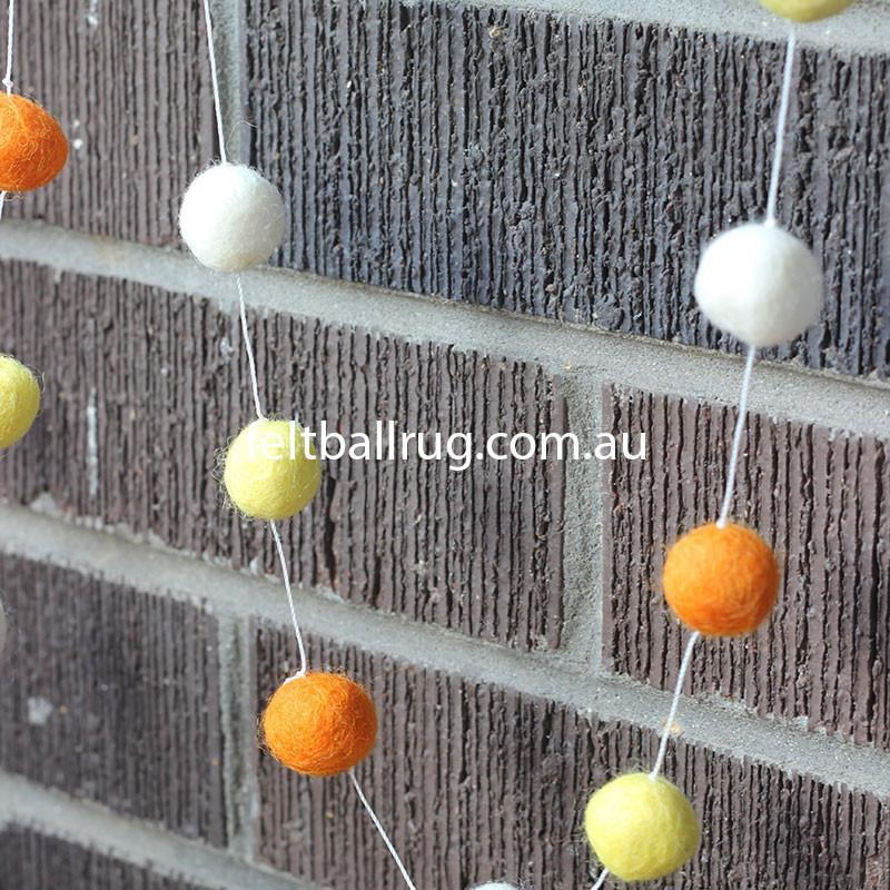 Felt Ball Garland Orange White And Yellow - Felt Ball Rug Australia - 3