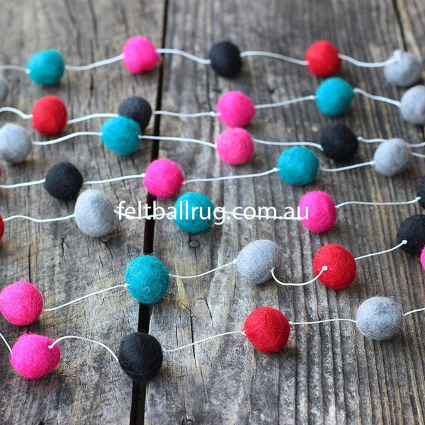 Felt Ball Garland Magenta Rose Ocean Green Black Grey - Felt Ball Rug Australia - 1
