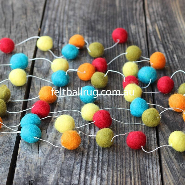 Felt Ball Garland Red Green Orange Yellow - Felt Ball Rug Australia - 1