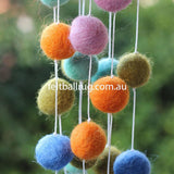 Pom Pom Garland Blue Mint Lime Orange Pink - Felt Ball Rug Australia - 3