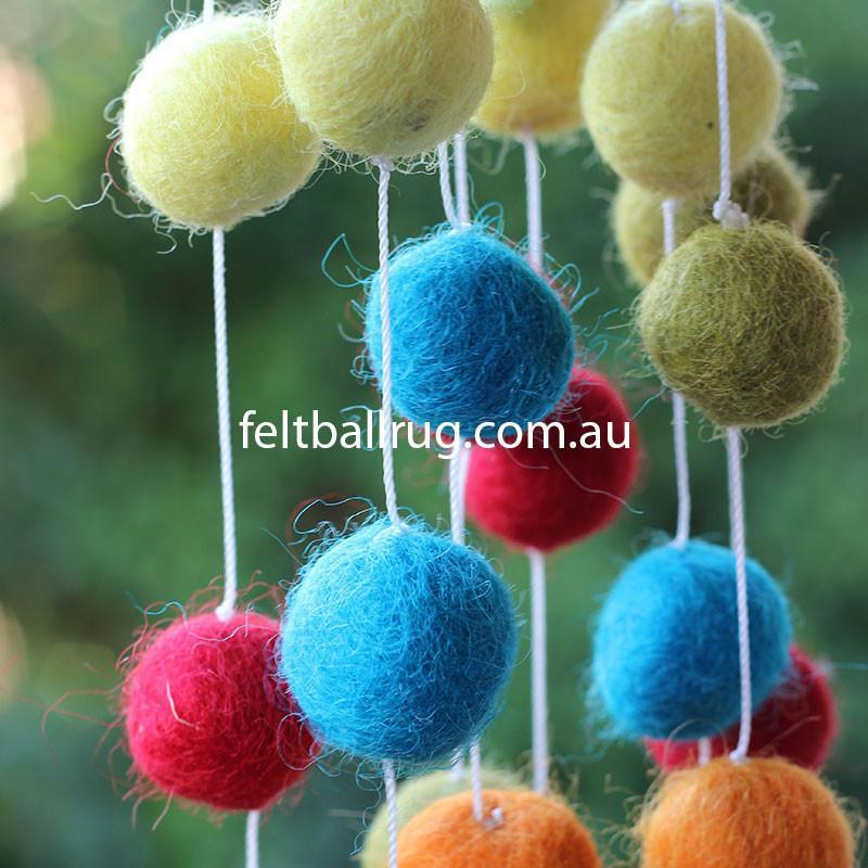 Felt Ball Garland Red Green Orange Yellow - Felt Ball Rug USA - 4
