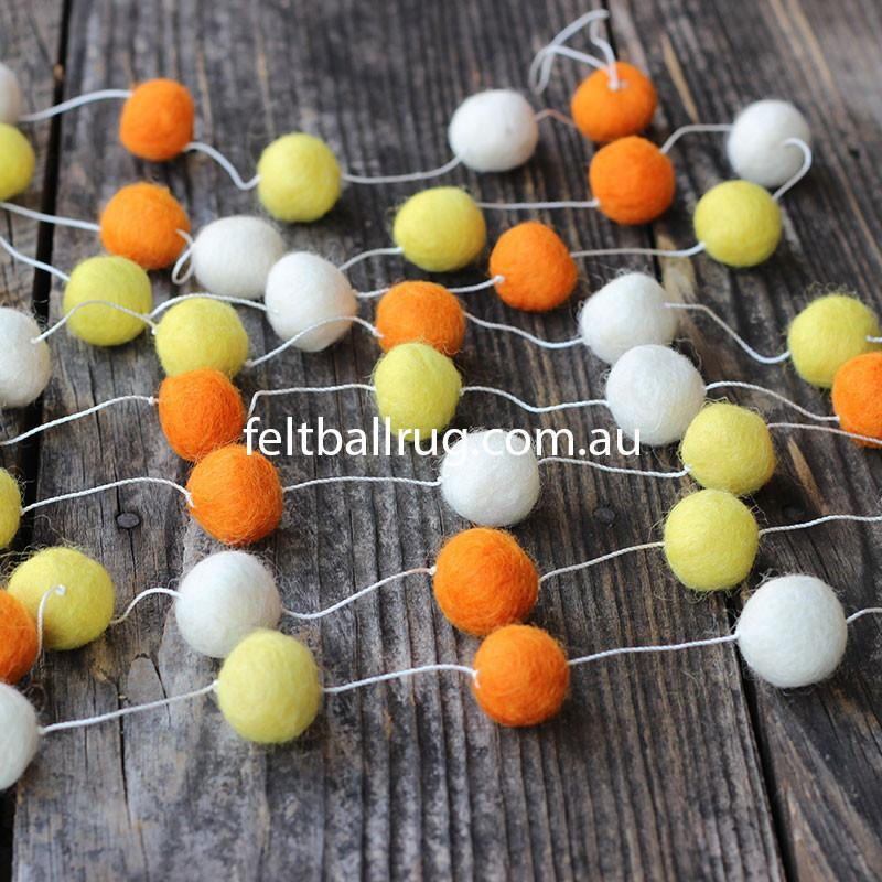 Felt Ball Garland Orange White And Yellow - Felt Ball Rug Australia - 1