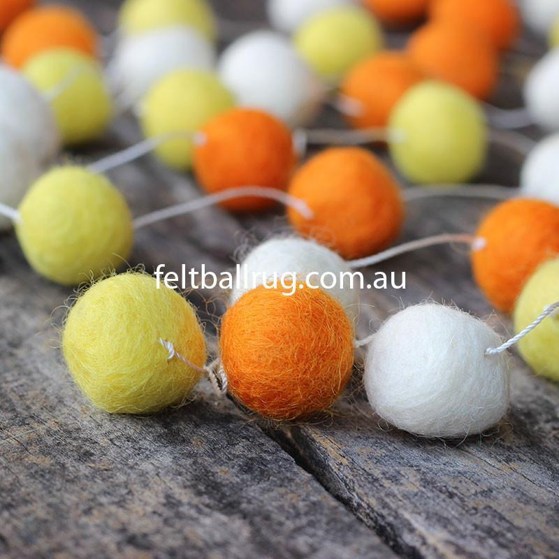 Felt Ball Garland Orange White And Yellow - Felt Ball Rug Australia - 2