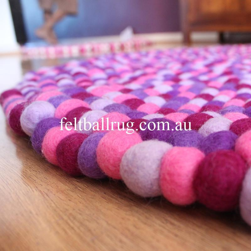Pancy Purple Felt Ball Rug - Felt Ball Rug Australia - 3