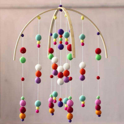 Multicolored Felt Ball Mobile