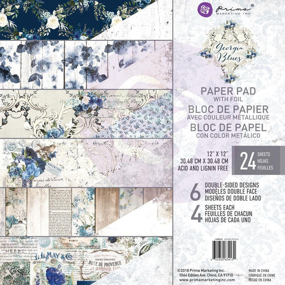 Prima 12x12 Paper Pack: Georgia Blues