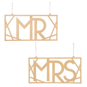 David Tutera™ Mr and Mrs Chair Signs: Gold, 5.75 x 11.63in