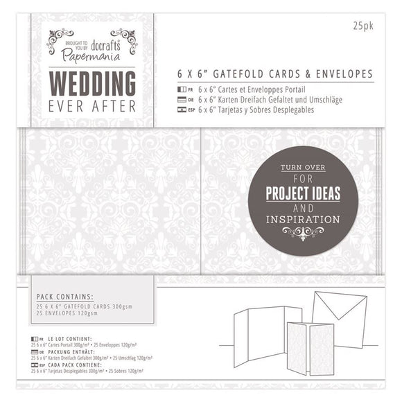6x6 Gatefold Cards and Envelopes: Wedding Collection Damask