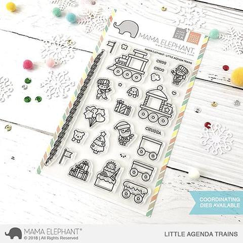 Mama Elephant 4x6 Clear Stamps: Little Agenda Trains