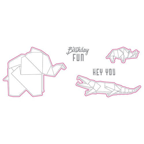 Dies and Stamps Set: Origami Love (Hey You Folds)